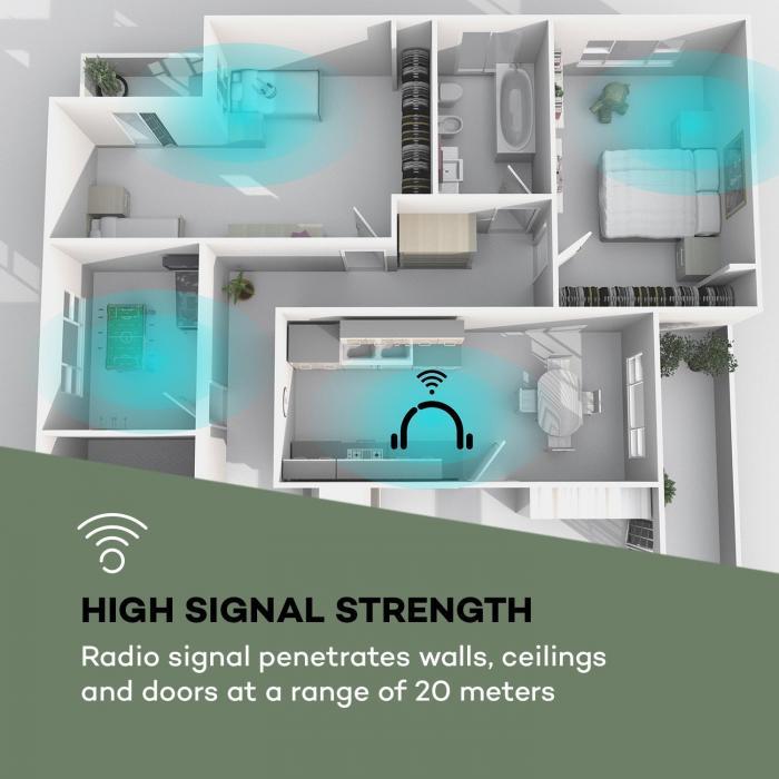 Silencium radiocuffie 20m 2,4GHz TV/HiFi/CD/MP3 batteria nero
