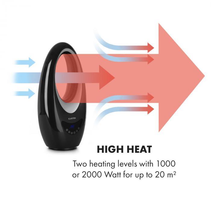Sahara Storm Aquecedor C/ Ventilador 1000/2000W Oscilação 16-40°C Temporizador Preto