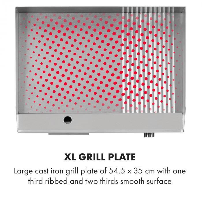 Grillmeile 3000GR Pro -sähkögrilli 3000 W grillilevy 54,5 x 35 cm sileä/uurrettu