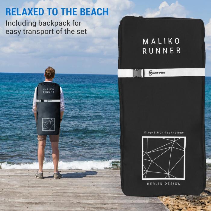 Maliko Runner -SUP-lauta puhallettava SUP-lautasetti harmaa/valkoinen