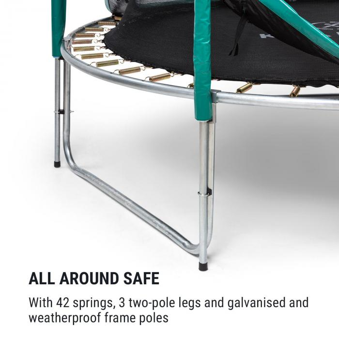 Jumpstarter trampoline 2,5m Ø net 120kg max. donkergroen