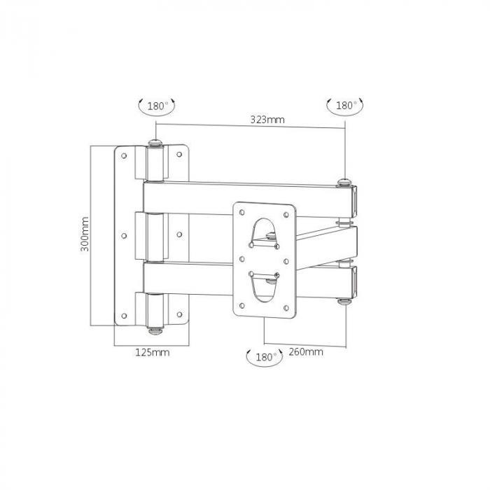 LCD-Schwenkarm Wandhalterung <75kg 2 Achsen