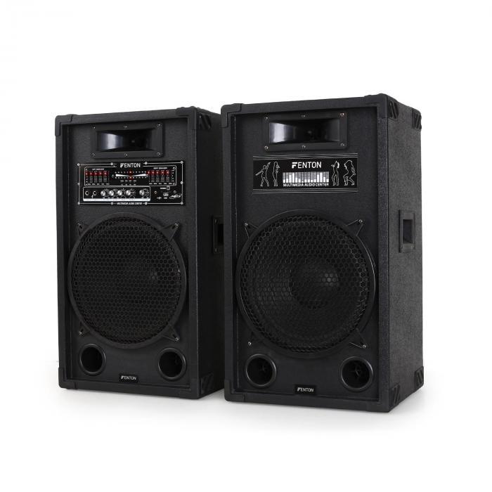 "Impianto Karaoke ""STAR-12"" Set Casse PA attive | Set 2 Canali VHF Radio Microfono"