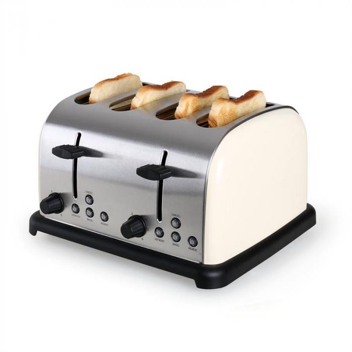 4 viipaleen Klarstein-leivänpaahdin ruost. teräs 1650W creme