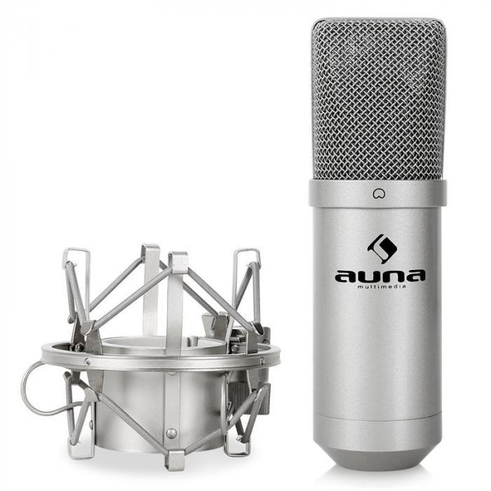 Studiomikrofonisetti, jossa mikrofoni & taitettava teline & pop-filtteri hopeanvärinen