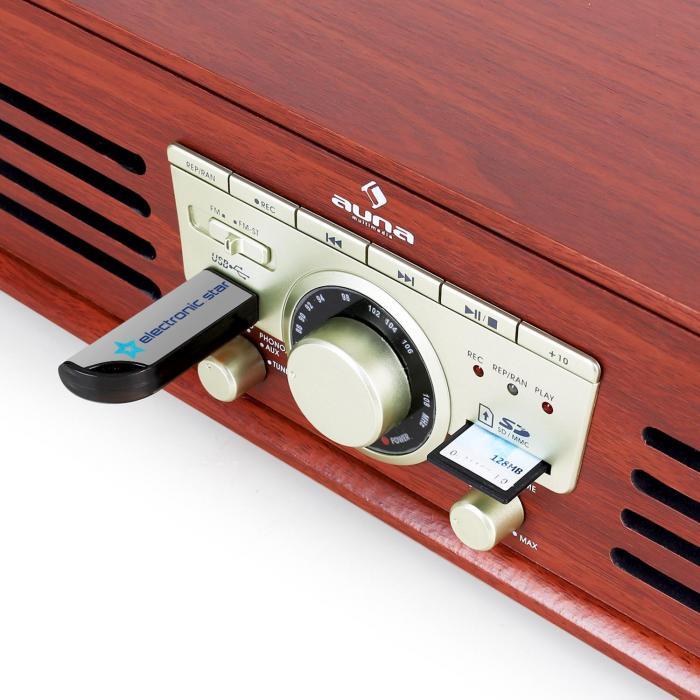 TT-92W giradischi USB SD AUX Altoparlanti Integrati ciliegio