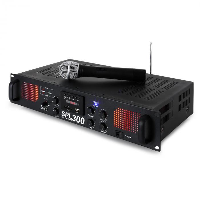 SPL 300 VHF PA Amplifier Set 2 Speakers Speaker Cable Black