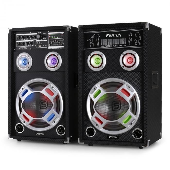 Skytec KA-10 Karaoke PA Speakers Set 800W USB SD