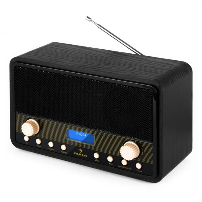 Digidab retro DAB digitale radio FM PLL duo-alarm snooze sleeptimer