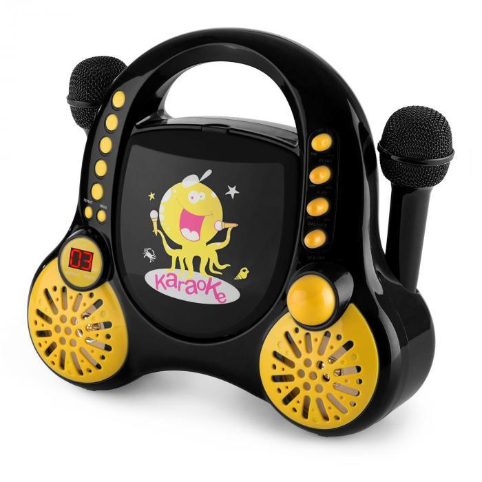 Rockpocket Impianto Karaoke Bambini CD AUX 2 Microfoni Adesivi Nero