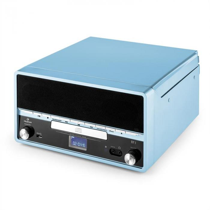 RTT 1922 Stereo Giradischi Retrò MP3 CD USB AUX Registratore Blu