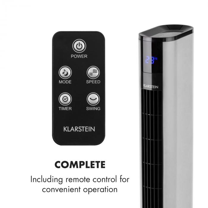 Skyscraper 3G Floor Tower Fan Touch Panel Remote Control Silver
