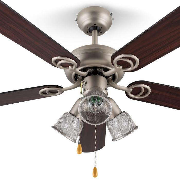 Charleston Ventilatore da Soffitto 122 cm 3 Lampadine 60W Pale in legn