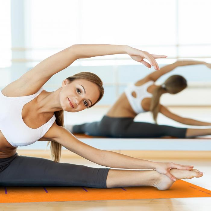 Yogamat gymnastiekmat 173 x 60cm oranje incl. schoudertas