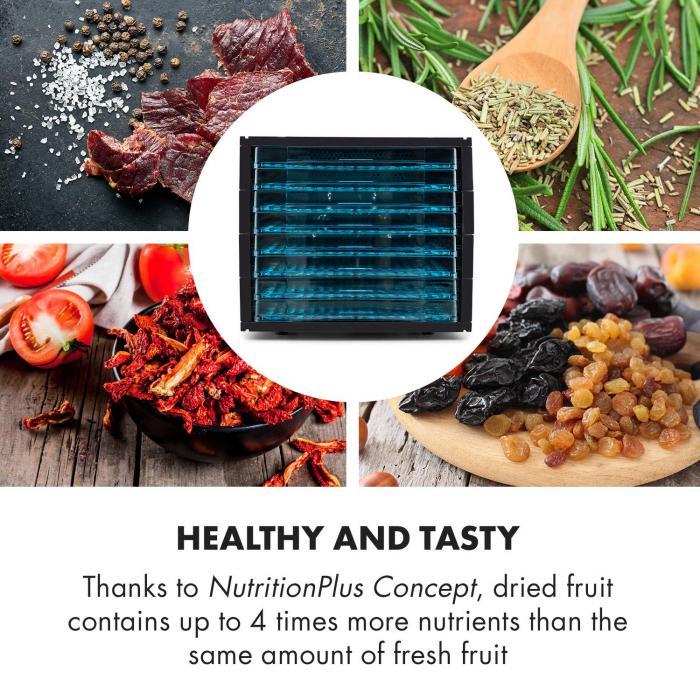 Fruit Jerky 8 Dörrautomat Dehydrator Trockner 650W 8 Etagen schwarz
