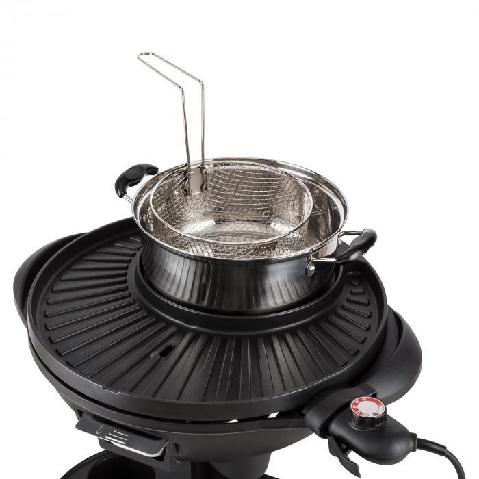 Grillpot sähkögrilli 1600 W jalallinen grilli pöytägrilli 40 cm grilli valurauta