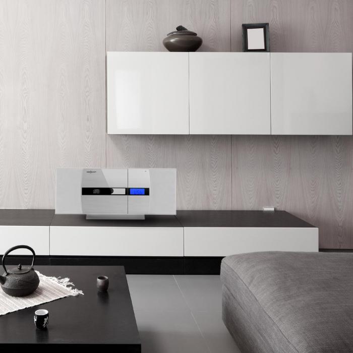 -15 Vertical Hi-Fi Stereo CD USB MP3 FM Radio AUX Alarm Clock White/ Silver Wall Mountable