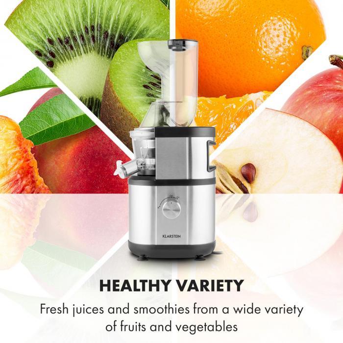 Fruitberry Slow Juicer 400W 60U/min Einfüllrohr Ø8,5cm BPA-frei Edelstahl