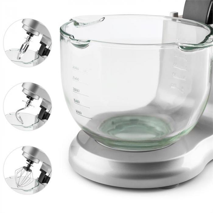 Allegra Argento Robot da Cucina 800 W 3 l Contenitore in Vetro Argento