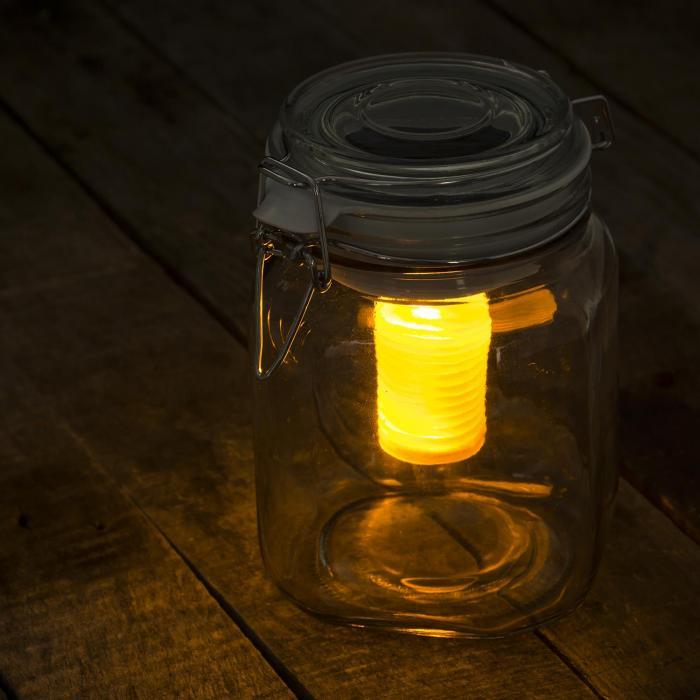Weerkikker LED-sfeerlicht geel/blauw wekglas solar accu
