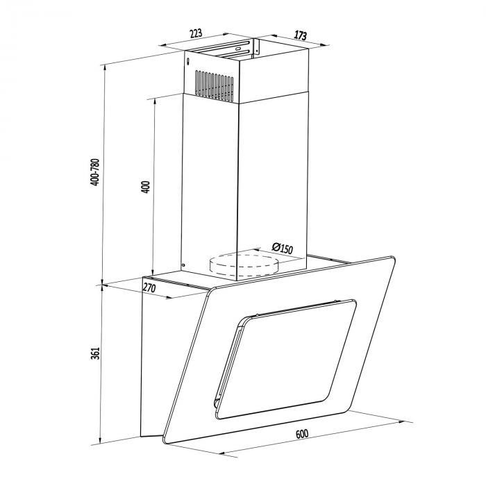 Lorea Dunstabzugshaube kopffrei 60cm 280 m³/h Touch Glas