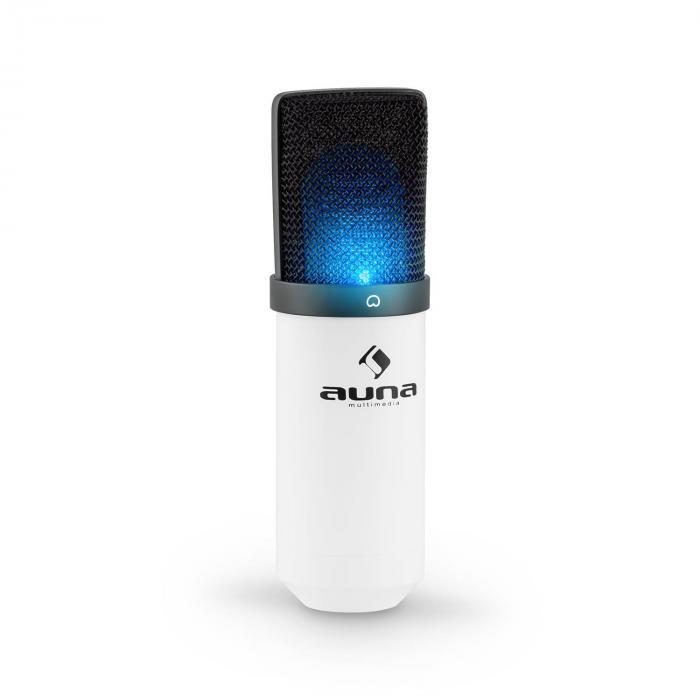 MIC-900WH-LED USB set de micrófonos V3 micrófono de condensador+brazo de micrófono cardioide LED blanco
