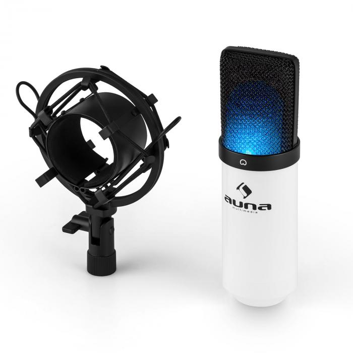 MIC-900-WH-LED USB Condensator Microfoon wit Nier Studio LED