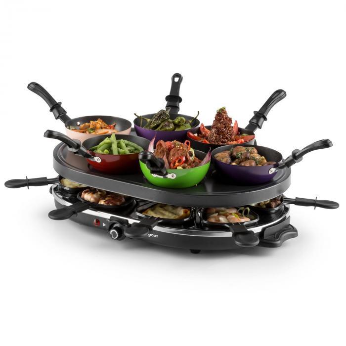 Woklette pöytägrilli raclette wokset 1200 W 8 hengelle tarttumaton pi