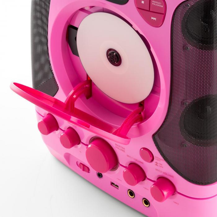 Kara Projectura pinkki + Dazzl mikrofonisetti karaokelaitteisto mikrofoni LED-valaistus