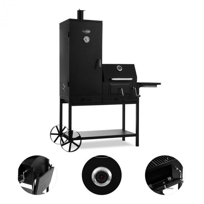 Fleischbrocken Charcoal Grill Smoker Smoking Oven BBQ Grill Black
