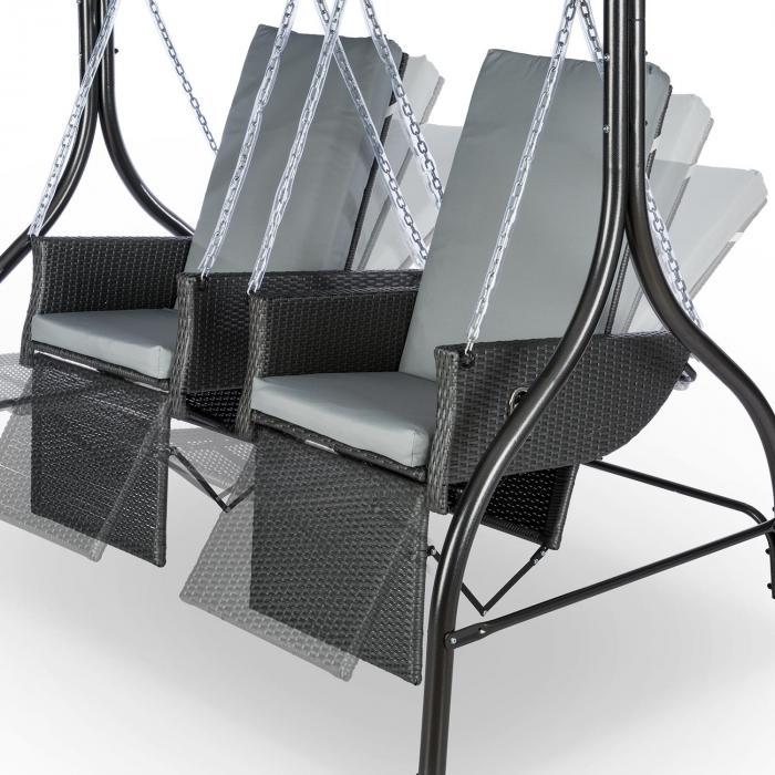 Concordia Hollywoodschaukel Gartenschaukel 185 cm 2 Sitze Sonnendach