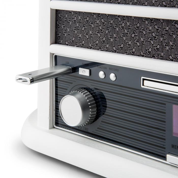 Belle Epoque 1908 DAB Aparelhagem Retro Gira-Discos DAB+ Bluetooth Branco