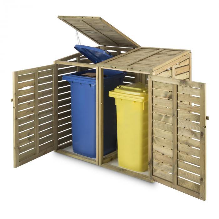 Ordnungshüter 2T -jätekatos 145 x 130 x 87 cm 2 jäteastiaa FSC-sertifioitua mäntyä
