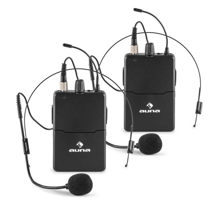 VHF-4-H-HS 4-Kanal-VHF-Funkmikrofon Set 2xHeadset 2xHandmikrofon 100m
