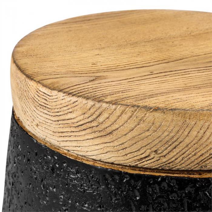 Blockhouse Chair Betonsäulensitz Gartenhocker Holz-/Lavasteinoptik