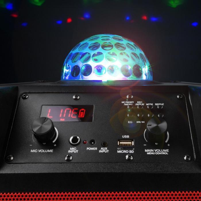 Kube 60 Cassa Acustica Bluetooth Portatile USB SD AUX VHF Batteria Effetto Luce LED Rotante RGB