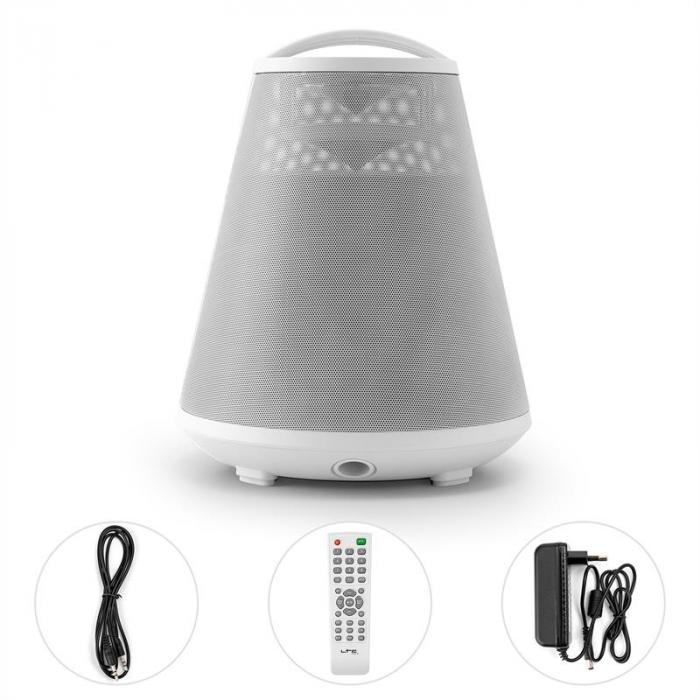 FREESOUND65 Bluetooth Speaker Battery 360° Sound LED AUX USB SD FM white recording function