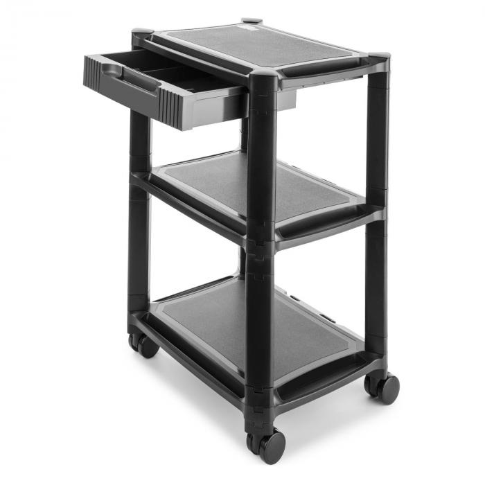 P-Stand laatikollinen rullapöytä tulostimelle mediataso 3 säilytyslokeroa musta