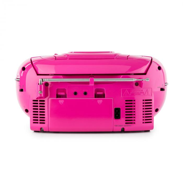 BeeBerry Boom Box Ghettoblaster Radio CD/MP3 Player Tape Player pink
