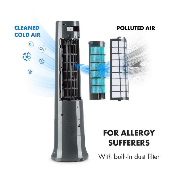 Highrise ventilator luftkoeler luftbevochtiger 35W 2,5L icepack - grijs