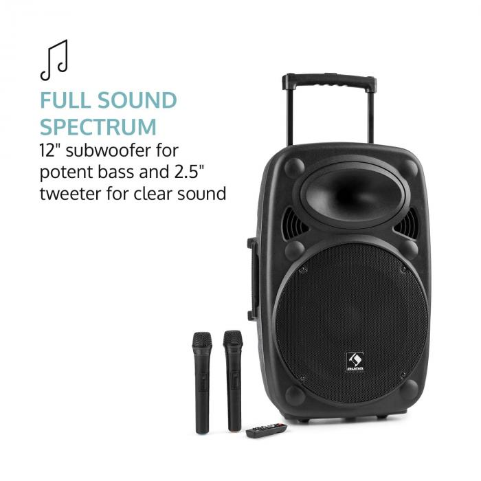 "Streetstar 2.0 12 equipo de PA móvil 12"" subwoofer trolley BT USB/SD/MP3 AUX"