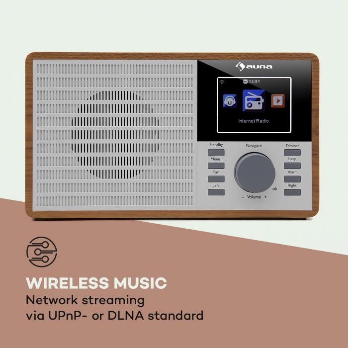"""IR-160 Radio internet WiFi USB AUX UPnP 2.8"""" écran TFT télécommande -marron"""