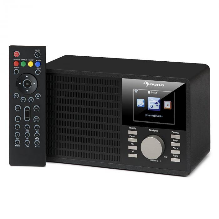 """IR-160 internetradio WLAN USB AUX UPnP 2.8"""" TFT-näyttö kaukosäädin musta"""