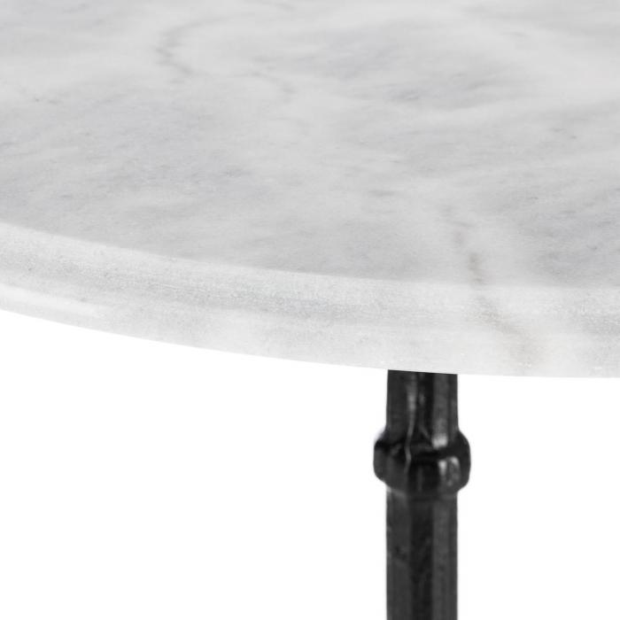 Patras Bistro-Tisch Marmortischplatte Ø60cm Gusseiserner Standfuß