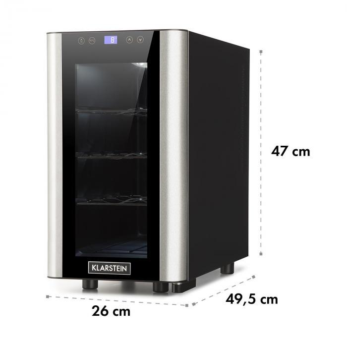 Vinovista Picollo Drinks Refrigerator 24l 8 Bottles LED Glass Door Stainless Steel