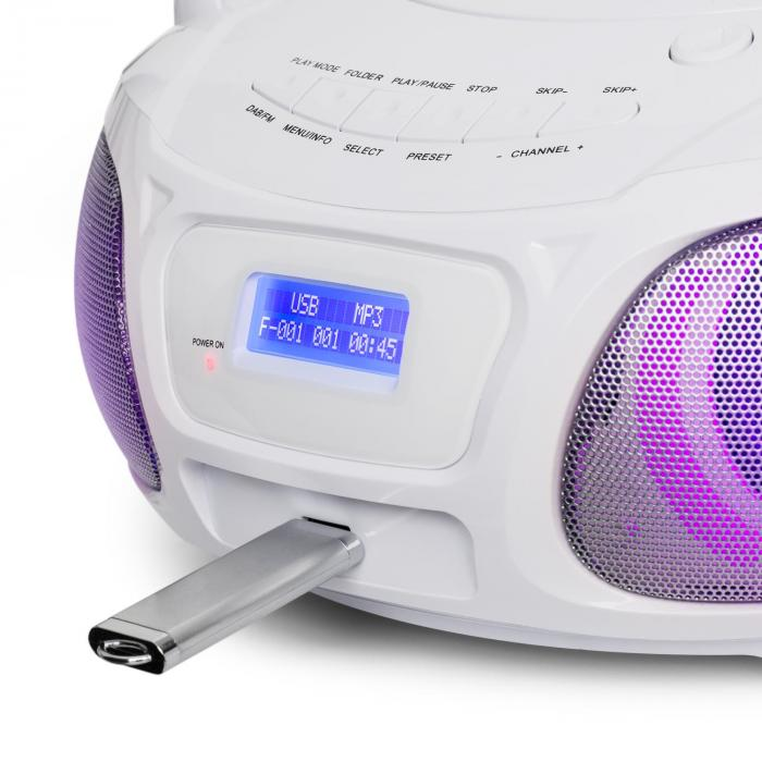 Roadie DAB CD-Player DAB/DAB+ UKW LED Disco Light Effect USB Bluetooth weiß