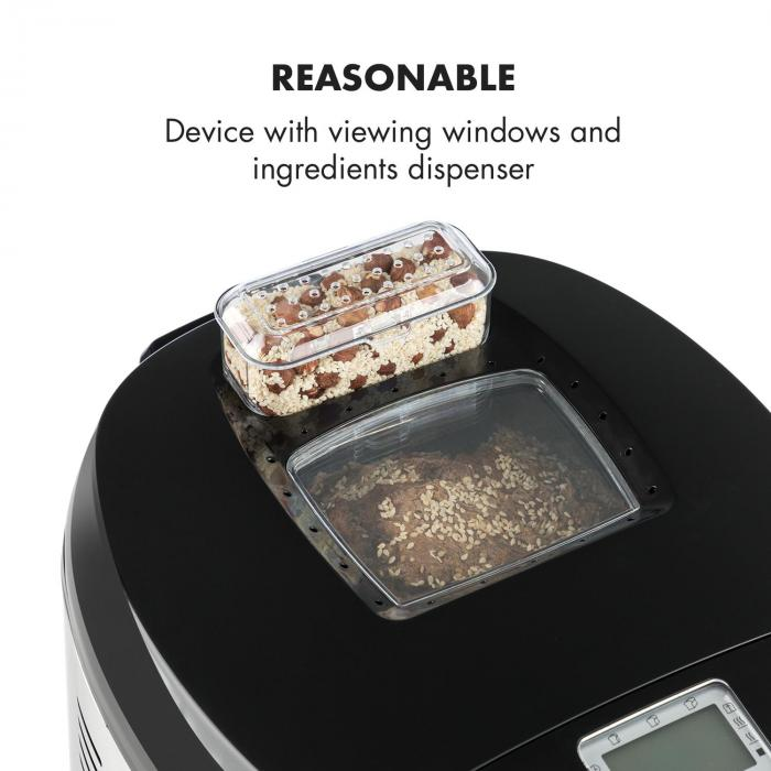 Brotilde Breadmaker LCD Display Window 650W Stainless Steel