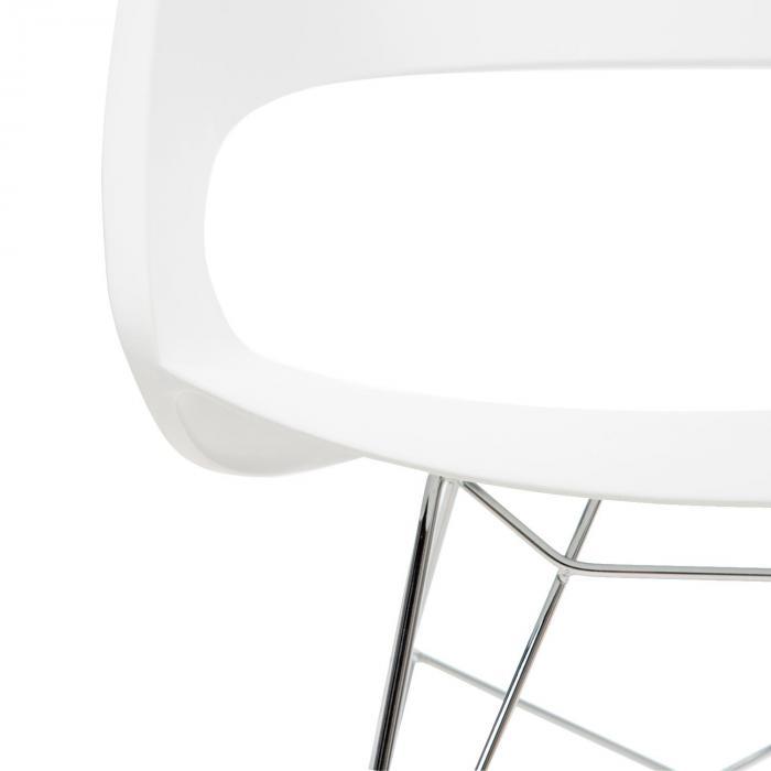 Travolta Sedia A Dondolo Retrò Seduta In PP Legno Di Betulla Colore Bianco