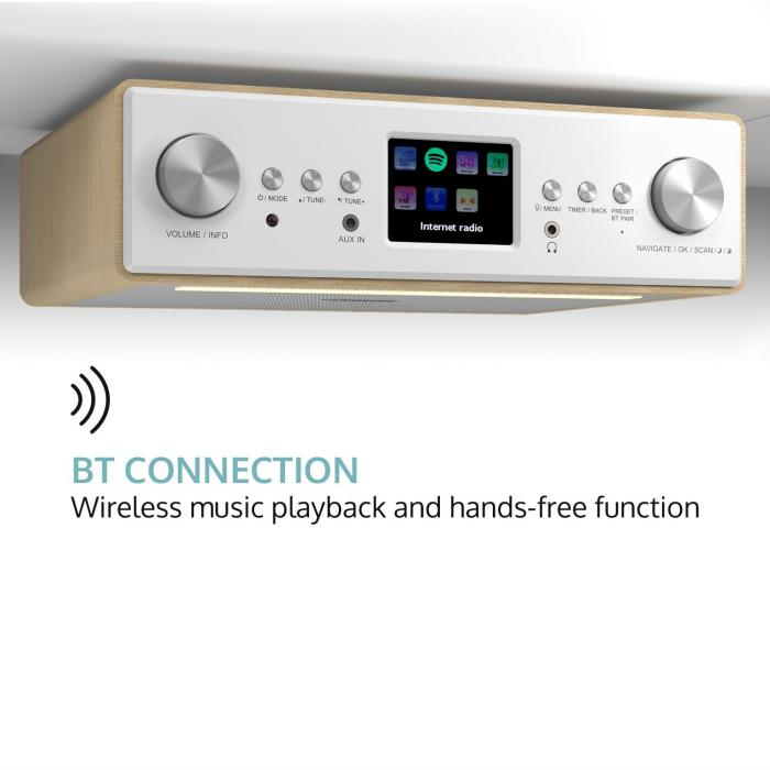 "Connect soundchef keukenradio met tablethouder DAB+ FM 2x3"" boxen beuk"