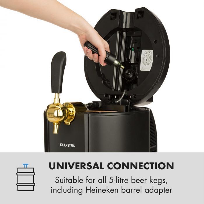 Skal Tirador de cerveza Grifo de cerveza 5L Dispensador de cerveza CO2 Acero inoxidable negro